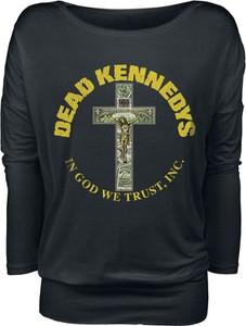 Czarna bluzka Dead Kennedys w stylu casual z długim rękawem