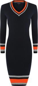 Czarna sukienka Giorgio Di Mare z bawełny w stylu casual z długim rękawem