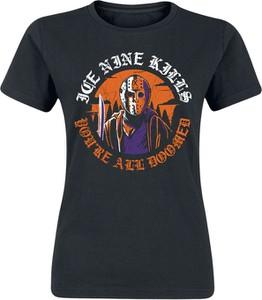 Czarny t-shirt Emp z okrągłym dekoltem z nadrukiem z krótkim rękawem