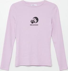 Fioletowa bluzka Cropp w stylu casual