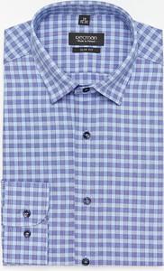 Niebieska koszula Recman z długim rękawem z bawełny w stylu casual