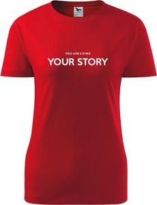 Czerwony t-shirt TopKoszulki.pl z okrągłym dekoltem z bawełny