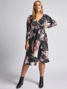Sukienka Dorothy Perkins midi z dekoltem w kształcie litery v z długim rękawem