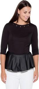 Czarna bluzka Katrus w stylu casual z okrągłym dekoltem