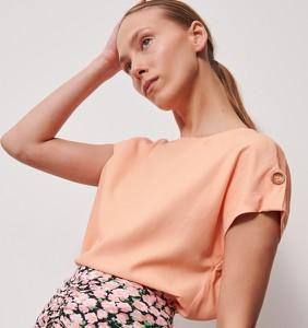 Pomarańczowa bluzka Reserved z okrągłym dekoltem w stylu casual