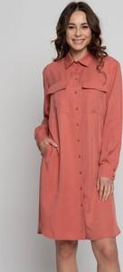 Pomarańczowa sukienka Bialcon mini z długim rękawem w stylu casual