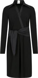 Czarna sukienka Pinko z wełny z kołnierzykiem midi