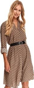 Brązowa sukienka Top Secret koszulowa w stylu casual mini