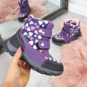 Buty dziecięce zimowe producent niezdefiniowany dla dziewczynek na rzepy