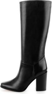 Czarne kozaki Prima Moda ze skóry przed kolano