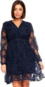 Sukienka Plus Size Fashion z dekoltem w kształcie litery v z długim rękawem mini