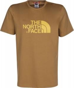 Brązowy t-shirt The North Face z bawełny w młodzieżowym stylu z krótkim rękawem