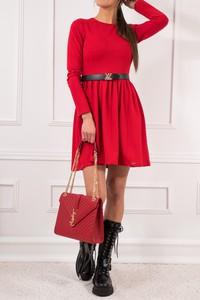 Czerwona sukienka JOMU z długim rękawem z bawełny mini