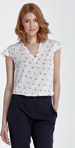 Bluzka Nife z krótkim rękawem z nadrukiem z dekoltem w kształcie litery v