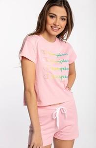 Różowa bluzka Champion z okrągłym dekoltem z bawełny z krótkim rękawem