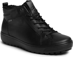 Czarne buty zimowe Ecco z goretexu sznurowane