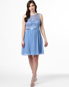 Niebieska sukienka SUDDENLY Princess bez rękawów z okrągłym dekoltem z satyny