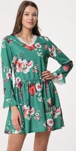 Born2be zielono-czerwona sukienka sleepy petal