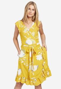 Żółta sukienka khujo z bawełny z dekoltem w kształcie litery v
