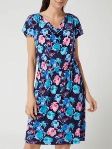 Niebieska sukienka Christian Berg Women z dekoltem w kształcie litery v z krótkim rękawem