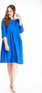 Sukienka N/A dla puszystych z okrągłym dekoltem z długim rękawem
