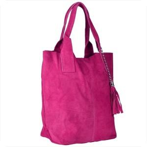 Różowa torebka Borse in Pelle ze skóry w wakacyjnym stylu