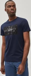 Granatowy t-shirt Diverse w młodzieżowym stylu z bawełny z krótkim rękawem