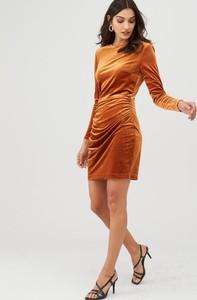 Brązowa sukienka V by Very z długim rękawem mini w stylu casual