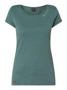 Zielona bluzka Ragwear z bawełny z okrągłym dekoltem z krótkim rękawem