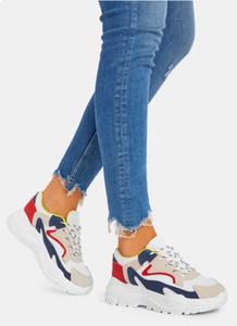 Niebieskie buty sportowe DeeZee w młodzieżowym stylu z płaską podeszwą