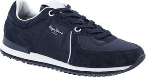 Granatowe buty sportowe Pepe Jeans sznurowane ze skóry