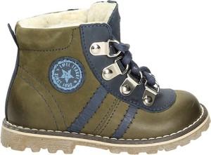 Zielone buty dziecięce zimowe EMEL ze skóry