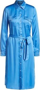 Niebieska sukienka Set z kołnierzykiem