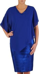 Niebieska sukienka POLSKA z długim rękawem z szyfonu