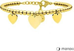 Manoki BA635G urocza, złota bransoletka z serduszkami