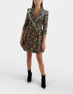 Sukienka Elisabetta Franchi z długim rękawem mini z dekoltem w kształcie litery v
