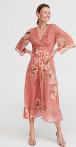 Sukienka Reserved midi kopertowa z dekoltem w kształcie litery v
