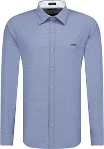 Niebieska koszula Guess Jeans z klasycznym kołnierzykiem