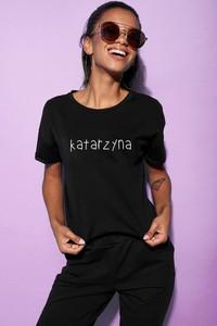 Czarny t-shirt ilovemilk.pl z bawełny w młodzieżowym stylu z krótkim rękawem