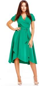 Sukienka Poker z dekoltem w kształcie litery v asymetryczna z krótkim rękawem