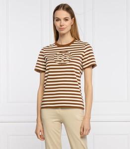 Brązowy t-shirt Tory Burch z okrągłym dekoltem z krótkim rękawem