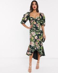 Sukienka Asos midi baskinka z długim rękawem