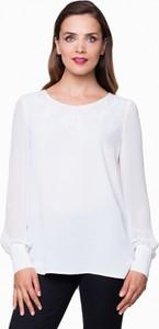 L'af bluzka biała z koronkowym dekoltem anna