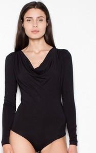 Czarna bluzka Venaton w stylu casual z długim rękawem