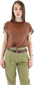 Brązowa bluzka Tela z okrągłym dekoltem z płótna
