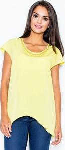 Żółta bluzka Figl w stylu casual z krótkim rękawem