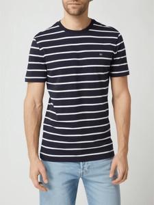 Granatowy t-shirt Christian Berg Men z bawełny z krótkim rękawem w stylu casual