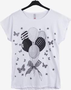 T-shirt Royalfashion.pl z okrągłym dekoltem w młodzieżowym stylu z krótkim rękawem