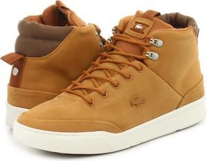 Brązowe buty zimowe Lacoste sznurowane