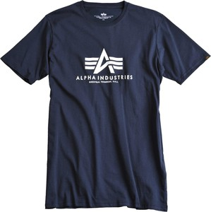 Niebieski t-shirt Alpha Industries z krótkim rękawem z nadrukiem